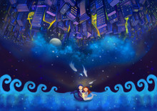 Illustration: The Whole World Are All Yours! Happy Valentine's Day! Upside Down Idea. Another World Is Above The Head. Fantastic Cartoon Style Wallpaper Background Scene Design.