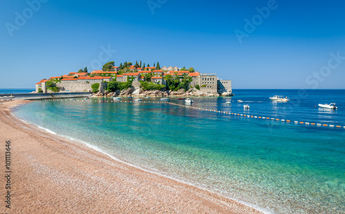Sveti Stefan island and paradise beach in Montenegro Wallpaper Mural