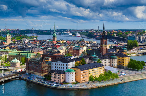 In de dag Noord Europa View of Stockholm from the City Hall tower, travel Sweden architecture background