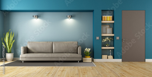 Photographie  Blue and brown modern livingroom
