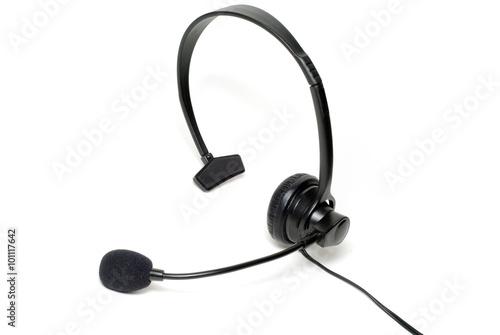 Fotografie, Obraz  Phone Headset on White Background