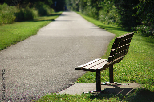 Photo  Park Bench on Walking Trail Picture