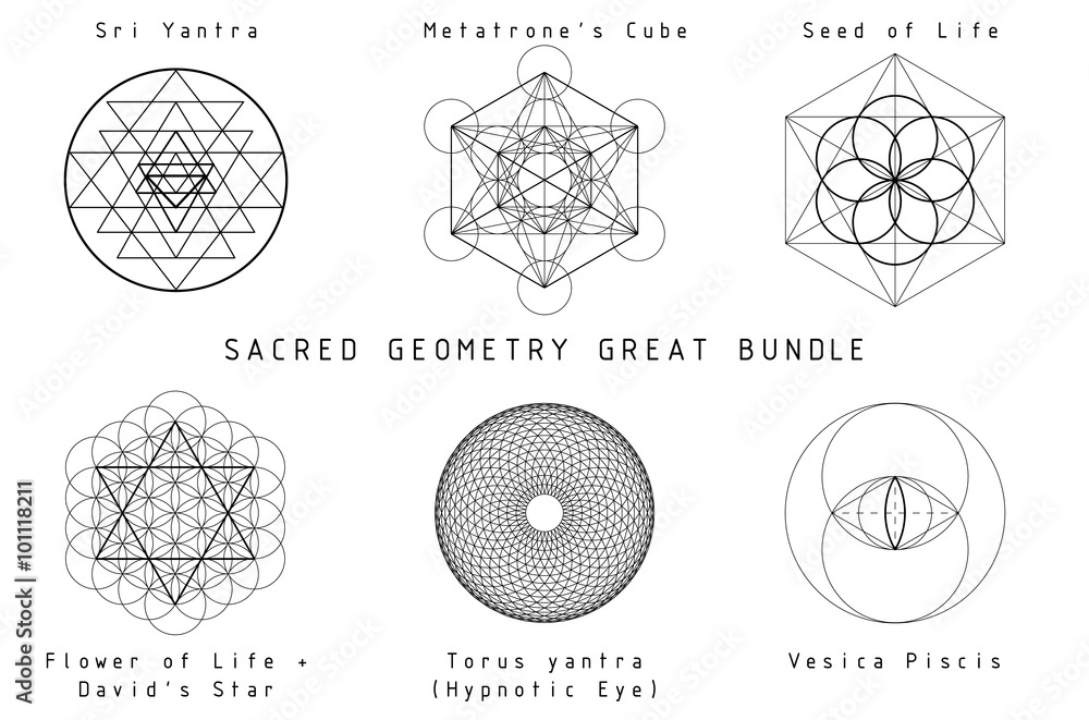 Fototapeta Sacred Geometry Set, great bundle. Black graphics on a white background.