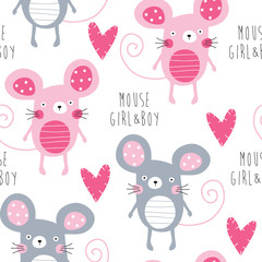 Tapeta seamless mouse love pattern vector illustration