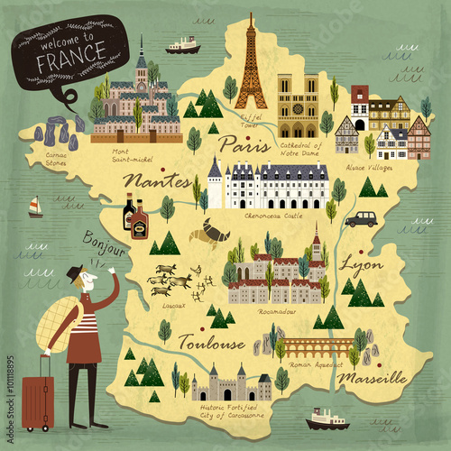 Canvas Print France travel concept map