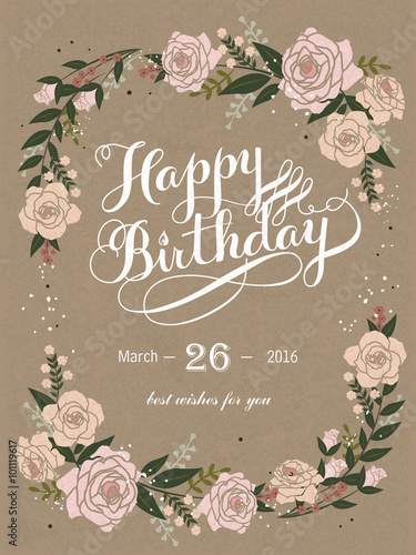 Photo  Happy birthday calligraphy and poster design