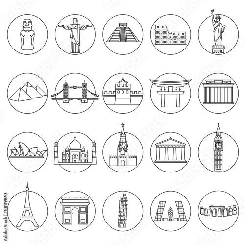 Plagát Popular travel landmarks icons