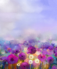 FototapetaOil painting Purple onion with white dandelion flowers in meadow. Abstract painting flower field and soft purple blue sky color background. Spring floral seasonal nature background