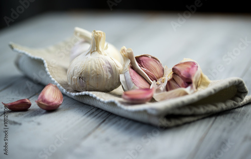 Fotografie, Obraz  Organic garlic on wooden background