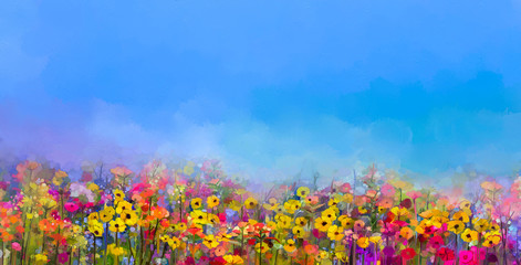 Panel SzklanyAbstract art oil painting of summer-spring flowers. Cornflower, daisy flower in fields. Meadow landscape with wildflower, Purple-blue Sky color background. Hand Paint floral Impressionist style