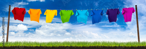 Fotografie, Obraz  row of colorful shirts on meadow in front of blue sky