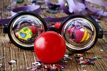 Fake Eyeglasses, Red Clown Nos...