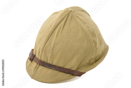 Photo  french military helmet of WWII isolated on the white background