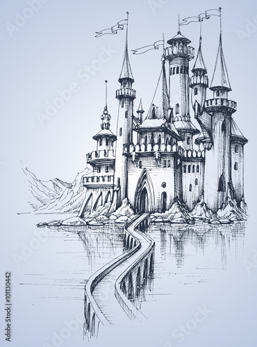 A beautiful palace and a bridge over the river - 101130442