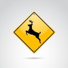 Deer Warning Vector Road Sign.