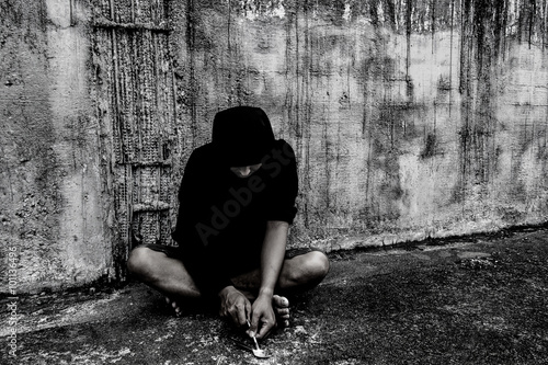Fotografia  Conceptual image on the subject of drug addiction