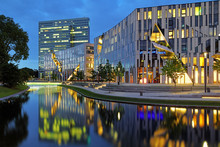 Evening View To The Ko-Bogen Buildings Complex In Dusseldorf, Germany