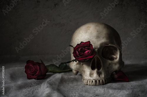 Fotografia Still life photography with human skull and roses