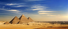 Egypt. Cairo - Giza. General View Of Pyramids And Cityscape From The Giza Plateau (on Front Side: 3 Pyramids Popularly Known As Queens' Pyramids; Next: The Pyramid Of Mykerinos, Chephren And Cheops)