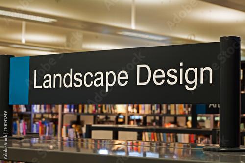 Poster New York Landscape Design section sign inside a modern public library
