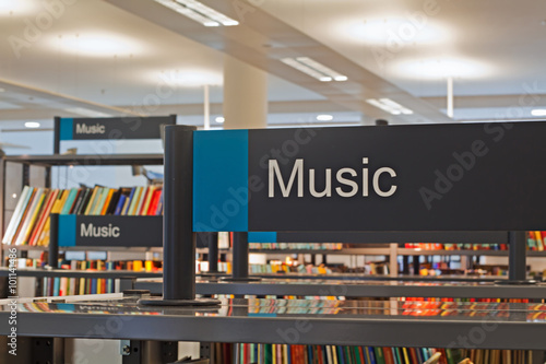 Photo Stands Music store Music section sign inside a modern public library