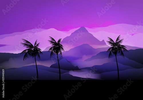 Spoed Foto op Canvas Violet Sunrise Mountain Landscape with Palm tree - Vector Illustration