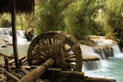 Poster Molens Waterwheel at Kuang Si Waterfall, Luang Prabang, Laos