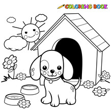 Black And White Outline Image Of A Dog Outside A Doghouse