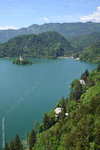 Photo Stands Caribbean Slovenia, the picturesque city of Bled in Balkan