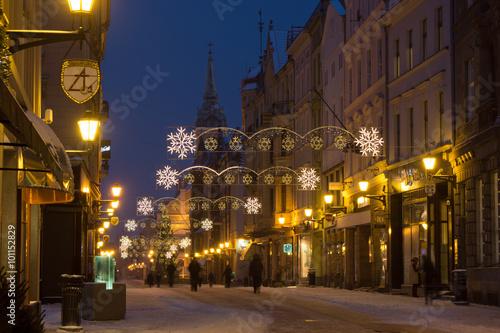 Fototapeta Toruń zima miasto ulica Szeroka obraz