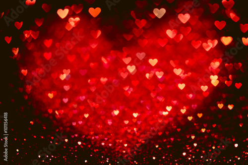 Fototapeta Red heart bokeh background. Valentines day texture. obraz na płótnie