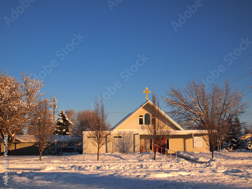 Fotografie, Obraz  Winter public Church and blue sky scene