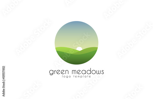 Poster Blanc Ecological natural landscape - eco logo template. Sun on the background of green hills - a symbol ecological organic production and agriculture. Logo template.
