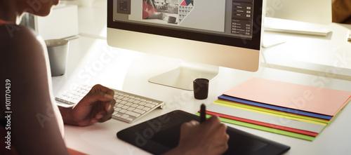 Obraz Graphic Designer Creativity Editor Ideas Designer Concept - fototapety do salonu