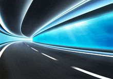 Abstract Blurred Speed Motion Road In Glass Tunnel Underwater
