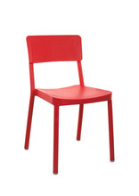 Red Plastic Cafe Chair On White Background, Three Quarter View