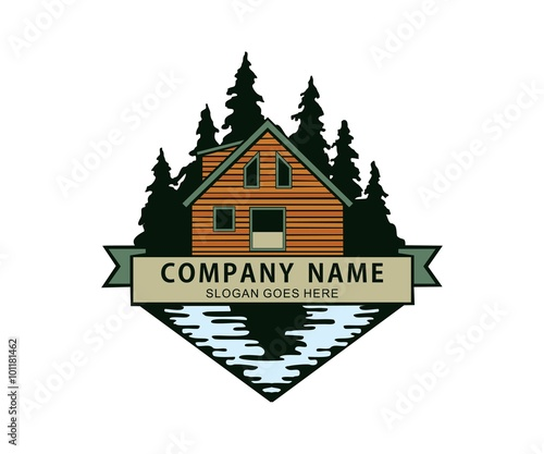 Photo cabin in the woods river lake side logo
