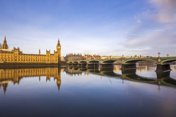 FototapetaBeautiful morning view of Westminster Bridge and Houses of Parliament with Thames river - London, UK