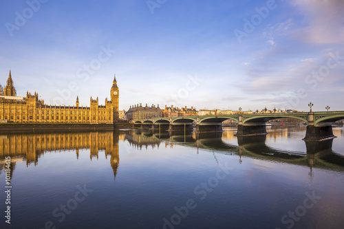 Beautiful morning view of Westminster Bridge and Houses of Parliament with Thames river - London, UK - 101184615