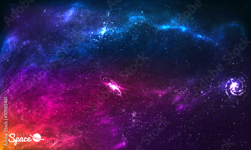 Colorful Space Galaxy Background with Shining Stars, Stardust and Nebula. Vector Illustration for artwork, party flyers, posters, brochures.