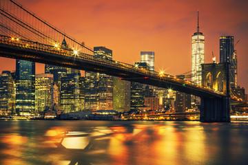 Fototapeta Mosty New York City Manhattan midtown at sunset