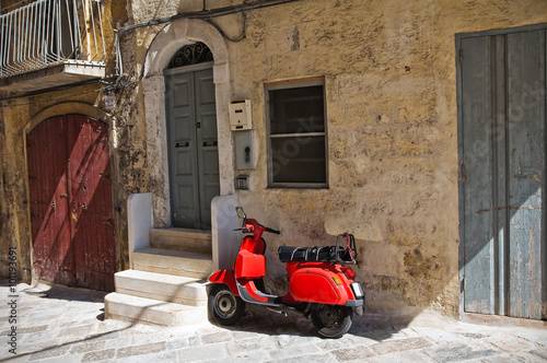Scooter Alleyway of Monopoli. Puglia. Italy.