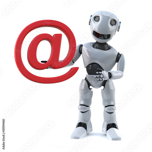 Fotografia, Obraz  3d Robot holds an email address symbol