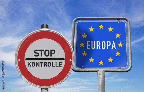 Fotografie, Obraz  Stop, Grenzkontrollen in Europa