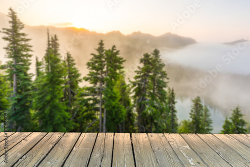 Fotografie, Obraz  empty wooden deck table top Ready for product display montage with forest background