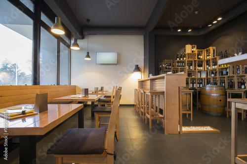 Foto op Canvas Restaurant Interior of a modern wine bar