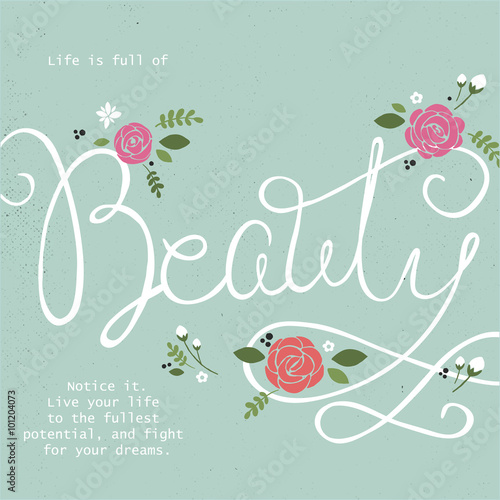 Hand drawn vector typography poster with flowers Tablou Canvas