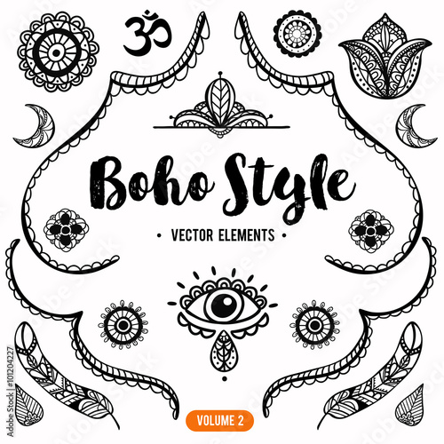 Fotografering  Set of Ornamental Boho Style Elements. Vector Drawing.