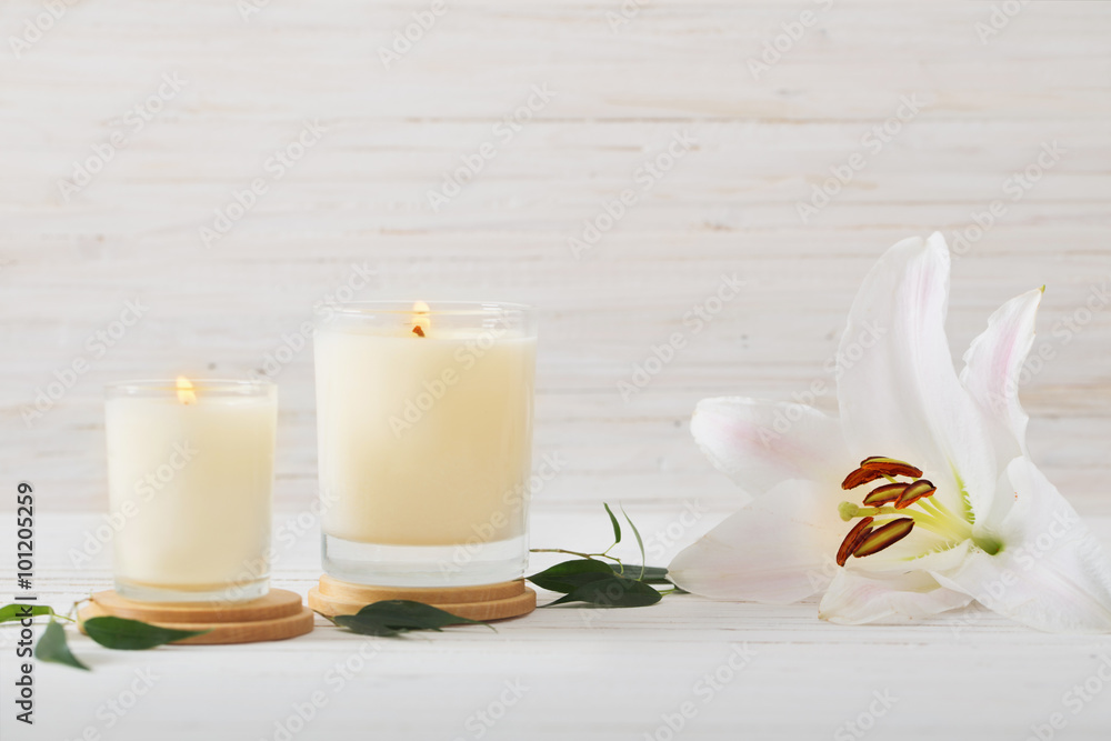 Fototapety, obrazy: scented candles on white background