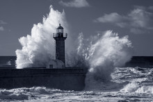 Infrared Old Lighthouse Under Heavy Storm
